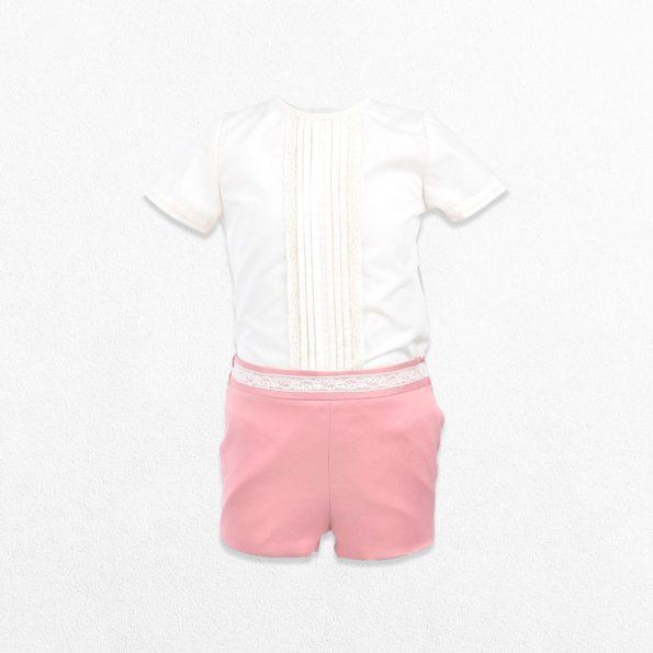 Traje de bautizo para bebé rosa