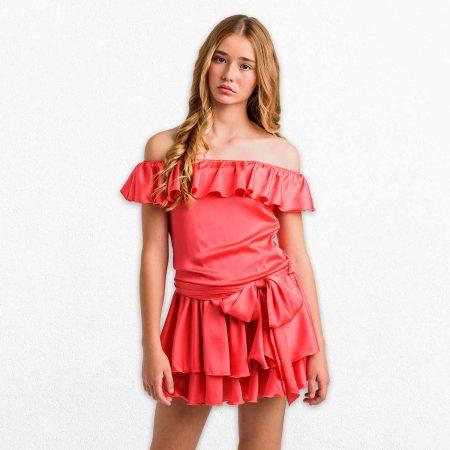 Vestido para adolescentes coral