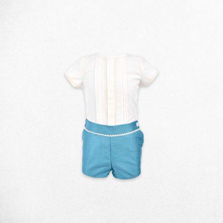 Traje de bautizo para bebé azul